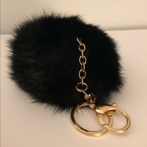 Accessories - Real Fur Keychain, Black and Gold